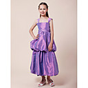 A-line Straps Tea-length Taffeta Junior Bridesmaid Dress