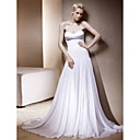 A-line Sweetheart Sweep/ Brush Train Elastic Woven Satin Wedding Dress