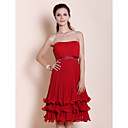 A-line Strapless Knee-length Tiered Chiffon Bridesmaid Dress
