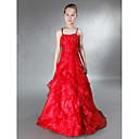 A-line Spaghetti Straps Floor-length Taffeta Tulle Junior Bridesmaid Dress