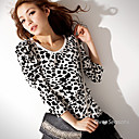 animal print top de manga comprida
