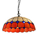 40W Pendant Light in Tiffany Style - Red Featured Lampshade