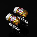 ouro irregular forma de zinco cufflinks liga com caixa de presente