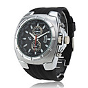 PC Movement Silver Case Black Dial Black Silicone Band Wrist Watch