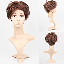 Lace Front Short High Quality Synthetic Dark Brown Curly Hair Wig
