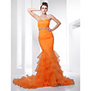 Trumpet/ Mermaid Sweetheart Court Train Organza Evening Dress