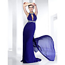 Trumpet/ Mermaid Jewel Sweep/ Brush Train Chiffon Evening Dress