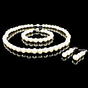 Fresh Water Pearl/ Crystal Wedding Bridal Jewelry Set Including Necklace Bracelet And Earrings