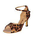 Ballroom Fashion Leopard Pattern Fabric Upper Dance Shoes Latin Shoes for Women