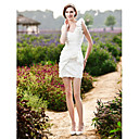 Sheath/ Column One Shoulder Short/ Mini Taffeta Wedding Dress