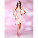 Sheath/ Column Sweetheart Asymmetrical Taffeta Cocktail Dress