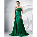 A-line Strapless Sweep/Brush Train Organza Evening Dress