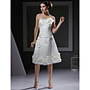 A-line Strapless Knee-length Satin Wedding Dress With 3D Floral