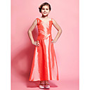 A-line V-neck Tea-length Taffeta Junior Bridesmaid Dress
