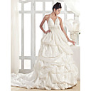 A-line Halter Court Train Taffeta Wedding Dress