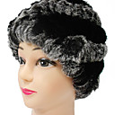 High Quality 100% Handmade Gray And Black Rex Rabbit Fur Winter Hat