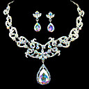 glanzende strass bruids sieraden set - 17 inch ketting met oorbellen