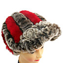 High Quality Handmade Gray And Red Rex Rabbit Fur Casual/Winter Hat