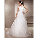 A-line Halter Sweep/Brush Train Taffeta And Tulle Wedding Dress