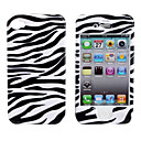 Protective Smooth Polycarbonate Front and Back Case for iPhone 4 and iPhone 4S (Black and White Stripes)