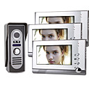 7 Inch Color TFT LCD Video Door Phone Intercom System  (1 Camera with 3 Monitor)