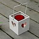 Metal Tealight Holder Pail With Heart Cutouts