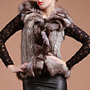 Genuine Rabbit Fur Vest With Fox Fur Trim (More Colors)