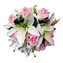 Satin Pale Pink Rose & Lily Bridal Bouquet