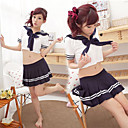 Cute And Sexy Ink Blue Polyester Sailor Suit (3 Pieces)