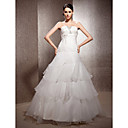 A-line Strapless Floor-length Organza Satin Wedding Dress