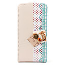 Full Body PU Leather Flip Case with A Lovely Decorative Key for iPhone 4 and 4S (Beige)