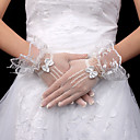 Lace Bridal Fingertips Wrist Length Gloves With Bow