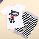 Cartoon Zebra Print Top + Black-white Striped Pants Set