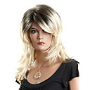 Capless High Quality Synthetic Medium Length Blonde and Black Fashion Curly Wig
