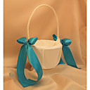 Ivory Flower Girl Basket With Ocean Blue Ribbon