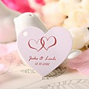 Personalized Heart Shaped Favor Tag - Pink Hearts (Set of 60)