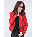 Long Sleeve Collarless Party/ Career Lambskin Leather Jacket With Buttons (More Colors)