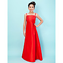 A-line Straps Square Floor-length Taffeta Junior Bridesmaid Dress