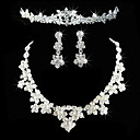 legering met elegante strass bruiloft sieraden set inclusief tiara, ketting, oorbellen