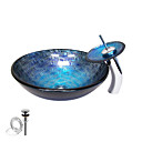 Tempered Glass Vessel Round Sink With Waterfall Faucet ,Pop - Up drain and Mounting Ring