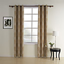 (Two Panels) Beige Jacquard Classic Energy Saving Curtains