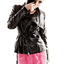 Long Sleeve Turndown Collar Evening/ Office PU Jacket With Pockets  (More Colors)