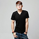 Simple Pure Color Mens' V Collar Short Sleeve T-shirt