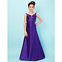 Lystation A-line V-neck Straps Floor-length Taffeta Junior Bridesmaid Dress