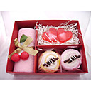 3 Pieces Towels and Heart Shaped Soaps Gift Set (Random Color)