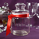 Personalized Candy Jar With Red Ribbon
