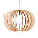 40W Wood Pendant Light in Bird Cage Design