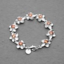 Fashion Silver Plated Yellow Crystal Plum Flower Women's Bracelet