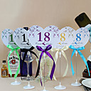 Flower Heart Shape Table Number Cards With Holders - Set Of 10(More Colors)