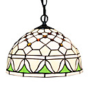 60W 1 - Light Tiffany Glass Pendent Light with Floral Pattern Fringe
